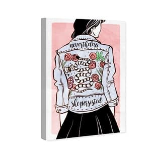 Wynwood Studio 'Her Favorite Jacket' Fashion and Glam Wall Art Canvas Print - Blue, Pink