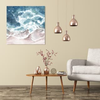 Wynwood Studio 'Seaside Waves' Nautical and Coastal Wall Art Canvas Print - Blue, Brown