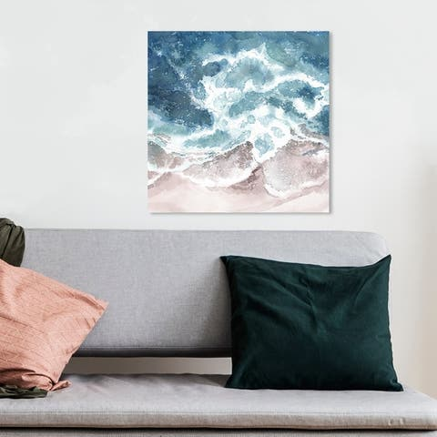 Wynwood Studio 'Seaside Waves' Nautical and Coastal Wall Art Canvas Print - Blue, Brown