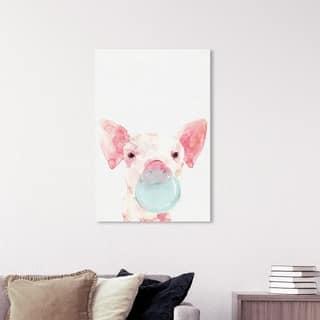 Wynwood Studio 'Piglet Bubblegum' Animals Wall Art Canvas Print - Pink, Blue