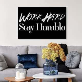 Wynwood Studio 'Work Hard' Typography and Quotes Wall Art Canvas Print - Black, White