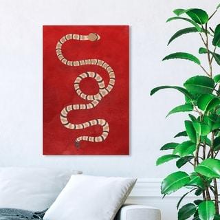 Wynwood Studio 'Ruby Snake' Animals Wall Art Canvas Print - Red, Brown
