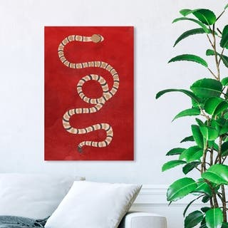 Wynwood Studio 'Ruby Snake' Animals Wall Art Canvas Print - Red, Brown