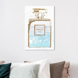 Wynwood Studio 'Perfume Water Love Light' Fashion and Glam Wall Art Canvas Print - Gold, Blue
