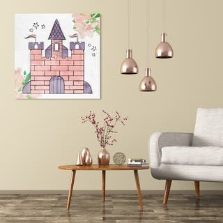 Wynwood Studio 'Scribble Castle' Fantasy and Sci-Fi Wall Art Canvas Print - Pink, Purple
