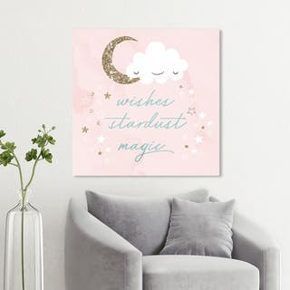 Wynwood Studio 'Wishes Stardust Magic' Typography and Quotes Wall Art Canvas Print - Pink, Gold