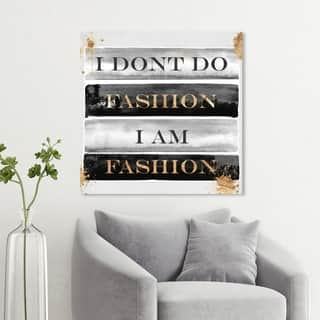 Wynwood Studio 'I Am Fashion Books' Typography and Quotes Wall Art Canvas Print - Black, Gray