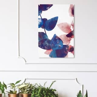 Wynwood Studio 'Like Cyanotype Leaves II' Floral and Botanical Wall Art Canvas Print - Blue, White