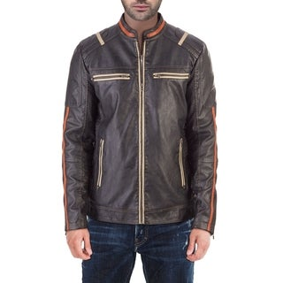 XRAY Jeans Men's Faux Leather Racer Striped Jacket