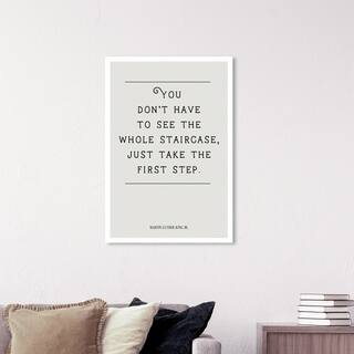 Wynwood Studio 'The First Step' Typography and Quotes Wall Art Canvas Print - White, Black