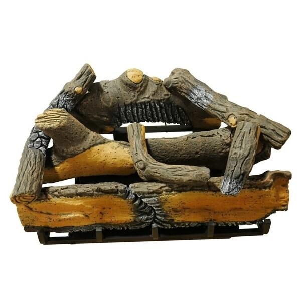 Cedar Ridge Hearth 24in. Decorative Realistic Fireplace Ceramic Wood Log Set - Model# CRHD24T-D
