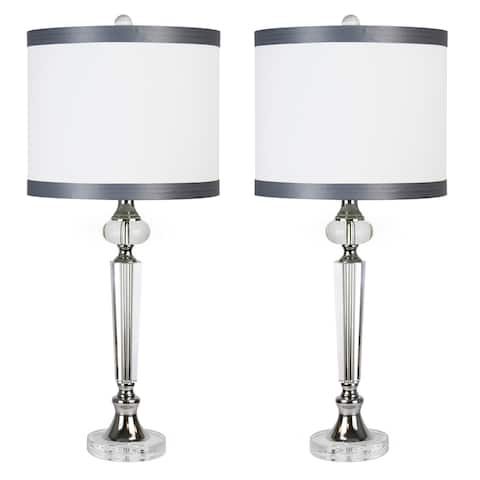 """28.5 """" Crystal W/ Chrome Finish Table Lamp Set W/ Silk Inspired Fabric Drum Shades"""