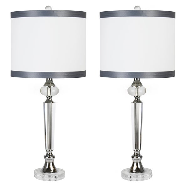 """28.5 """" Crystal W/ Chrome Finish Table Lamp Set W/ Silk Inspired Fabric Drum Shades. Opens flyout."""