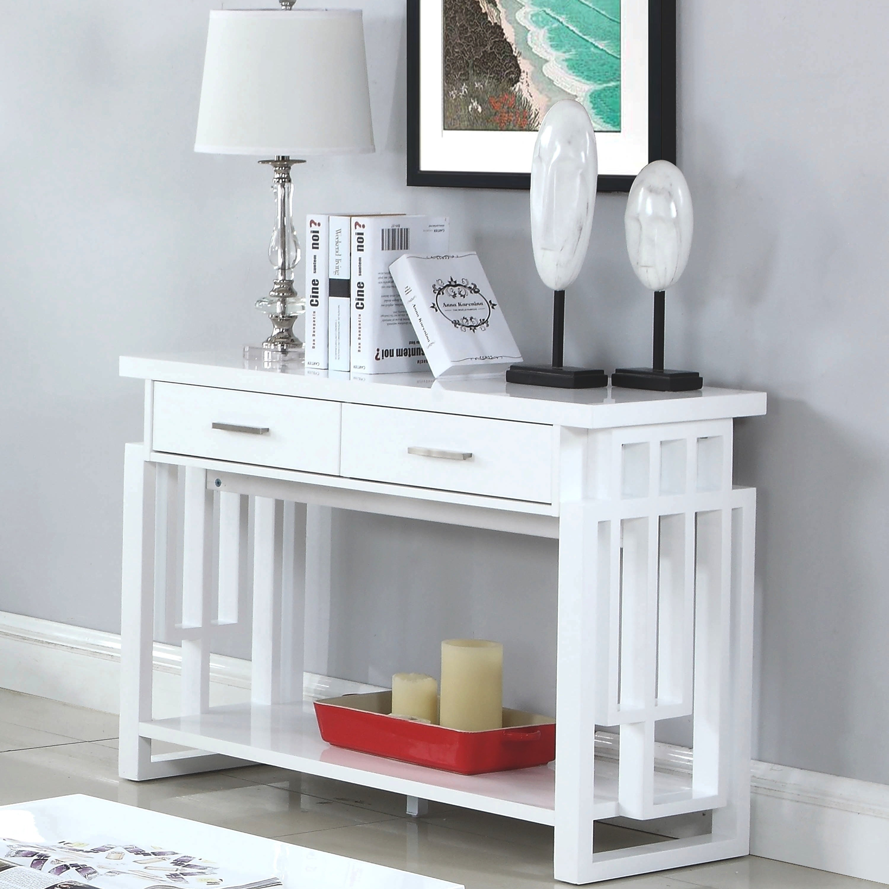Modern Artistic Design High Glossy White Sofa Console Table