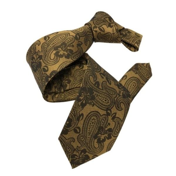 DMITRY Gold Patterned Italian Silk Tie