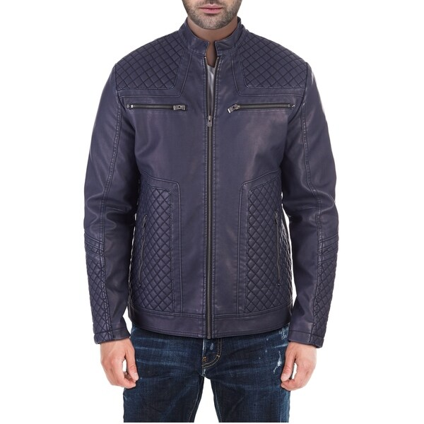 XRAY Jeans Mens Quilted Detail PU Leather Motorcycle Jacket