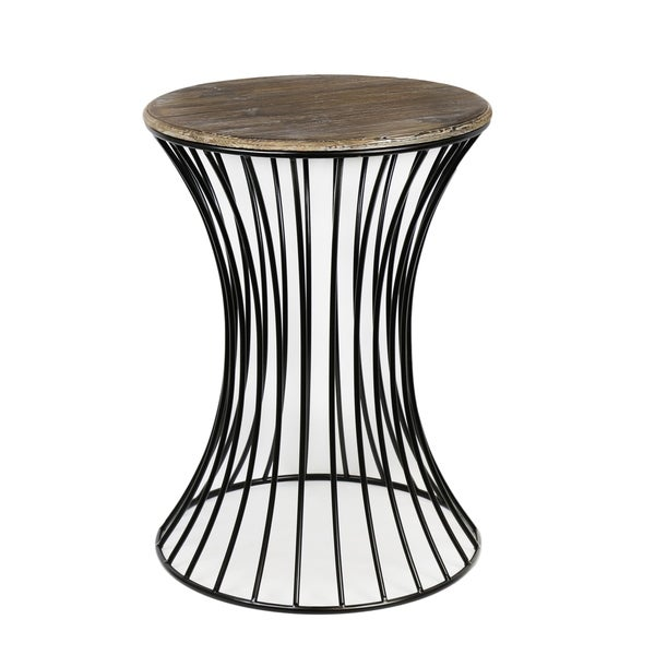 """25"""" Black Iron Accent Table w/ Distressed Gray Wood Table Top"""