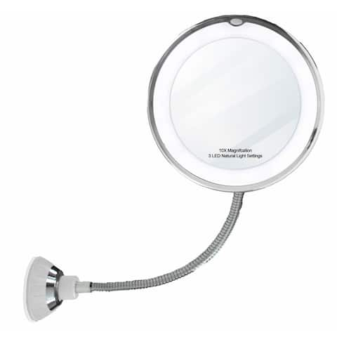 """14 LED Suction Cup Makeup 10x Mirror 6.5"""" Flexible 360 Swiveling Vanity Mirror"""