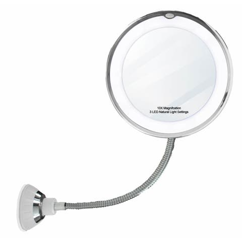 """14 LED Suction Cup Makeup 10x Mirror 6.5"""" Flexible 360 Swiveling Vanity Mirror - N/A"""