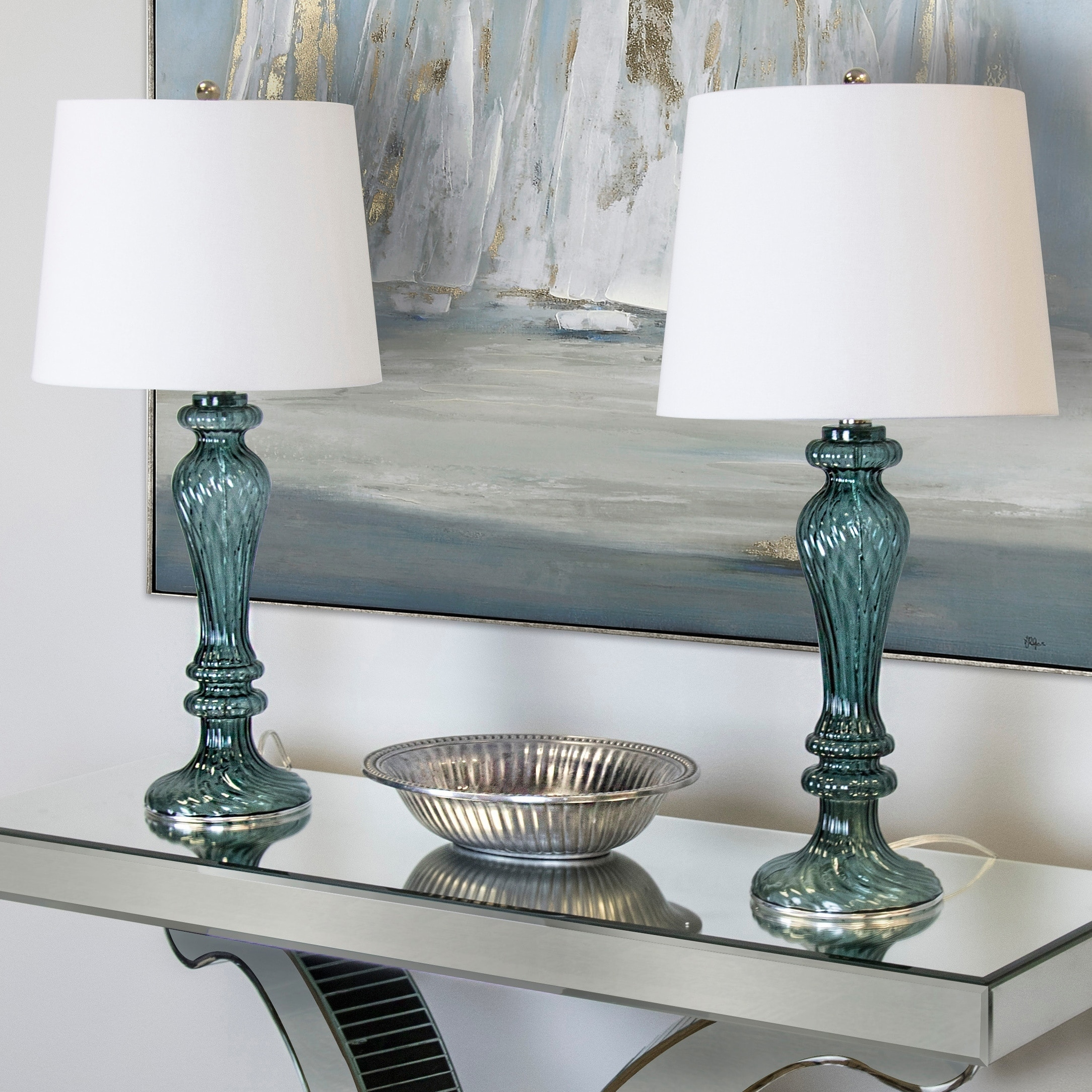 Shop Black Friday Deals On Porch Den Regina Turquoise Glass 25 5 Inch Table Lamp W White Linen Drum Shade On Sale Overstock 29197610