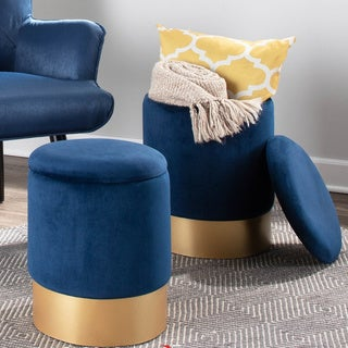 Silver Orchid Corday Contemporary Nesting Ottoman Set