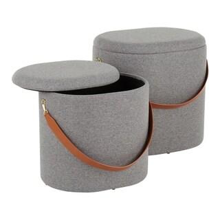 Nesting Oval Strap Ottoman Set (Grey)