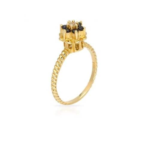 Pearl Lustre Princess Inspired Blue Sapphire Ring with Diamond in Yellow Gold.
