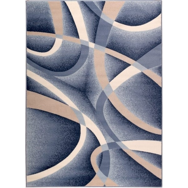 Abstract Geometric Traditional Living Room Luxury Area Rug in Blue Beige 2x3 5x7 8x10 6x9 Feet