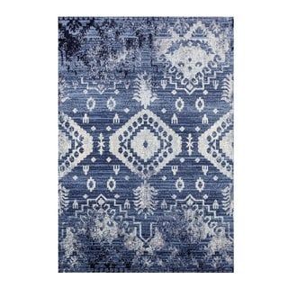 Elegant Vintage Area Rug in Blue Ivory Different Sizes For Living Room Bedroom Hallway Patio