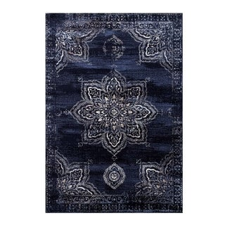 Soft Vintage European Area Rug For Living Room Bedroom Patio Hallway in Navy Blue