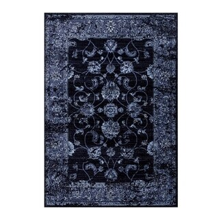 Soft Traditional Durable Area Rug in Navy Blue Small Large Extra Large For Living Room Bedroom