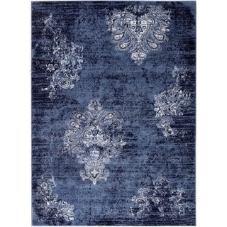Traditional Beautiful Classic Area Rug in Navy Ivory 2x3 5x7 6x9 8x10 Feet