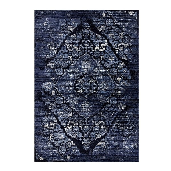 Classic Vintage Soft Area Rug in Navy Blue For Living Room Bedroom Low Pile Easy Vacuum