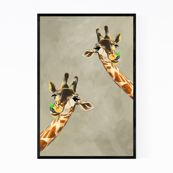 Noir Gallery Funny Giraffes Looking Painting Framed Art Print