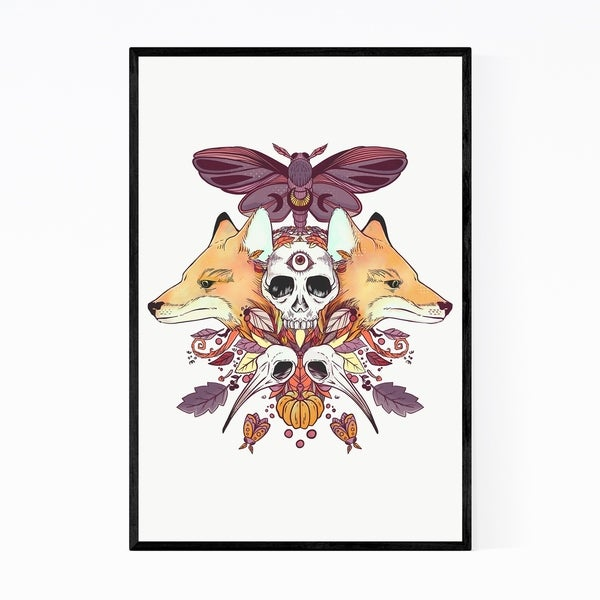 Noir Gallery Symmetrical Animals Design Framed Art Print