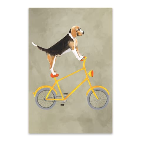 Noir Gallery Funny Beagle Dog Bicycle Painting Metal Wall Art Print