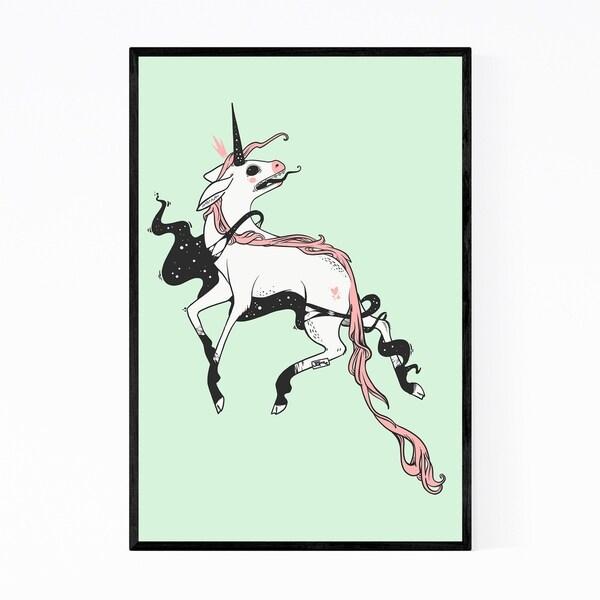Noir Gallery Cosmic Unicorn Fantasy Animal Framed Art Print