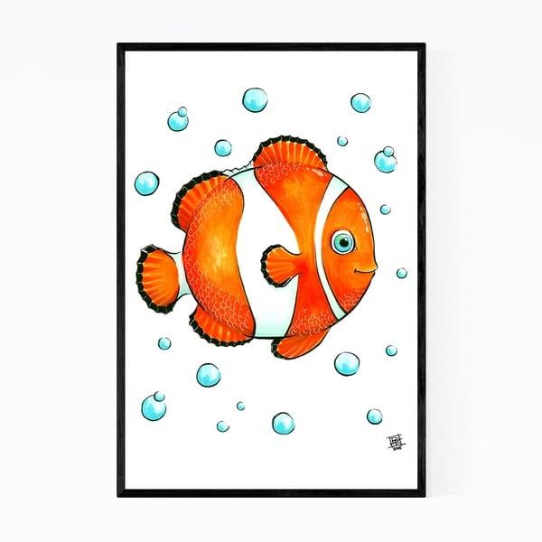 Noir Gallery Clownfish Bubbles Childrens Art Nursery Framed Art Print
