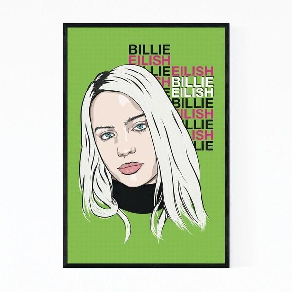 Noir Gallery Billie Eilish Music Poster Framed Art Print