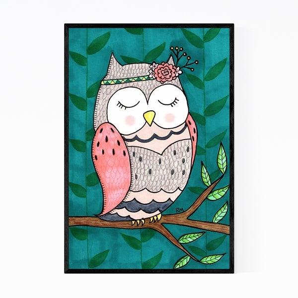 Noir Gallery Cute Owl Animal Nature Illustration Framed Art Print
