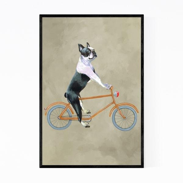Noir Gallery Boston Terrier Dog Bicycle Painting Framed Art Print