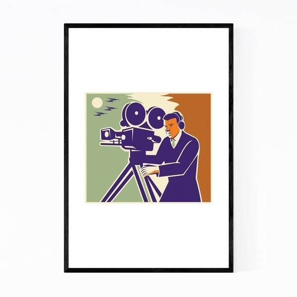 Noir Gallery Cameraman Film Crew Gift Retro Framed Art Print