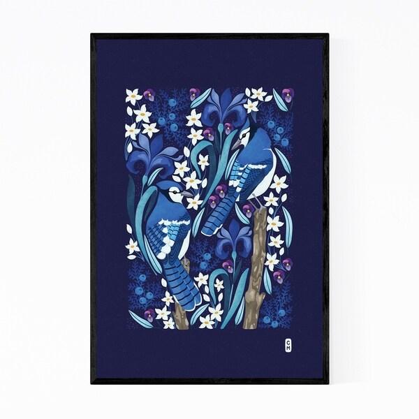 Noir Gallery Blue Jays Birds Minimal Floral Framed Art Print