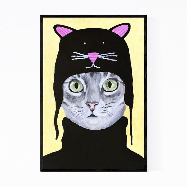 Noir Gallery Funny Cat Cat Hat Painting Framed Art Print
