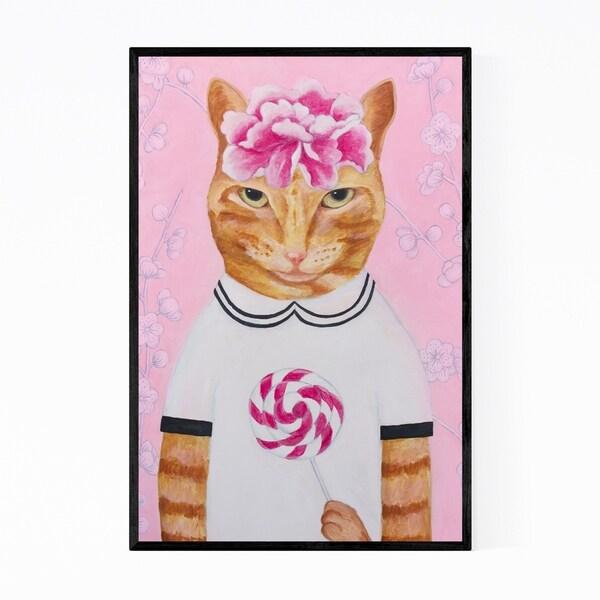 Noir Gallery Funny Cat Lollypop Food Pastel Framed Art Print