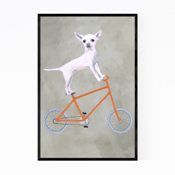 Noir Gallery Funny Chihuahua On Bicycle Painting Framed Art Print