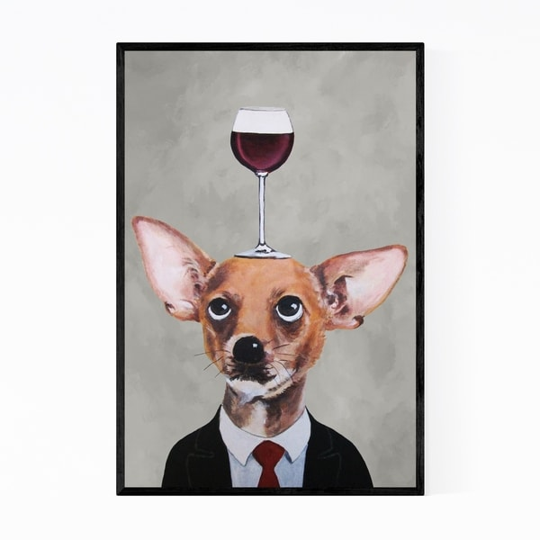 Noir Gallery Funny Chihuahua Wineglass Painting Framed Art Print