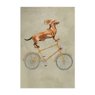 Noir Gallery Dachshund Dog On Bicycle Painting Unframed Art Print/Poster
