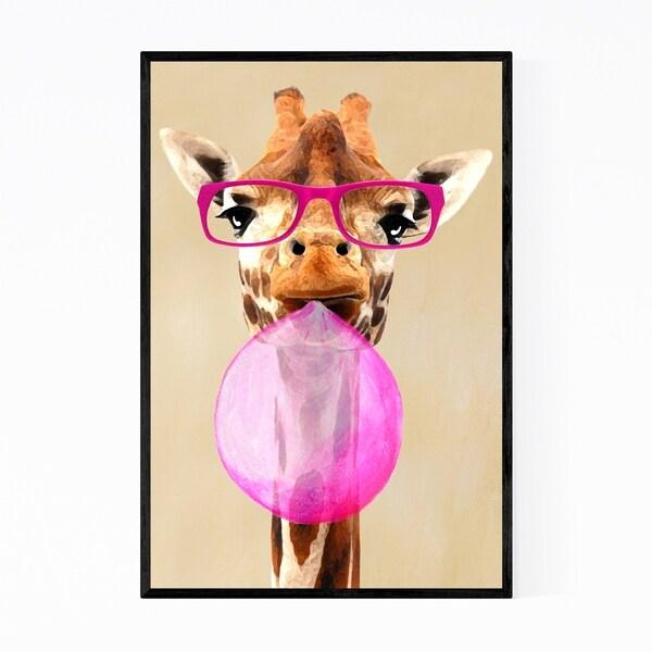 Noir Gallery Funny Giraffe Bubblegum Painting Framed Art Print