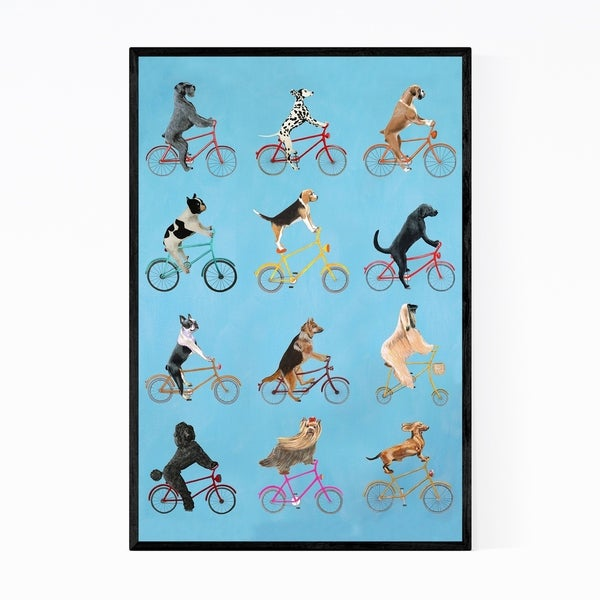 Noir Gallery Funny Cycling Dogs Painting Framed Art Print